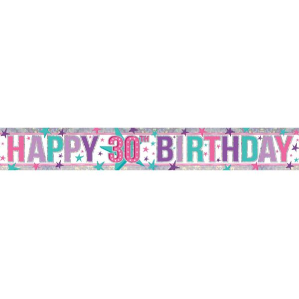 Holographic Pink Happy 30th Birthday Foil Banner